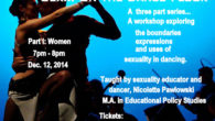 A three part series of workshops for women, men and couples exploring the boundaries, expressions and uses of sexuality in dancing. Part I: Women 7pm-8pm Dec. 12th, 2014 4909 Penn...