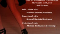 March Bootcamp Workshops March 27th – 29th, 2017 Modern Bachata Bootcamp, Monday, March 27th: Adding smooth to your groove, tips, tricks and combos when social dancing. Sensual Bachata Bootcamp, Tuesday, […]