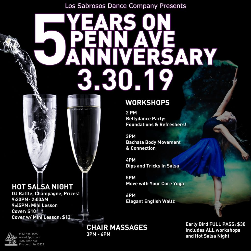 anniversary, bellydance, salsa, bachata, yoga, massage