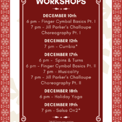 workshops, dance classes, cumbia, salsa on2, bellydance, holiday yoga